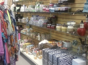 candles, scarves, lotions