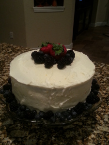 Berry Patriotic Cake with Lemon Buttercream Frosting